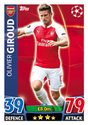 Champions League Match Attax 2016 Arsenal Cards
